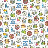 Healthy diet icons seamless pattern, healthy eating, rational nutrition icons, slimming loss weight, healthy lifestyle, balanced diet eating, organic food, vegetarian food, protein diet. poster