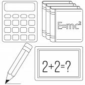 Calculus and physics study icon set. Line art black and white calculator pencil textbook chalk board. Education theme vector illustration for gift card banner sticker, badge sign, stamp, logo, label. poster