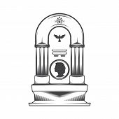 Vector isolated image of a female obelisk grave headstone. Silhouette of a female head profile. Cross pattern and silhouette symbol dove bird. poster