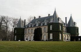 La Hulpe, Belgium - March 26, 2018: The Chateau De La Hulpe Is A 19th-century French Style Castle In