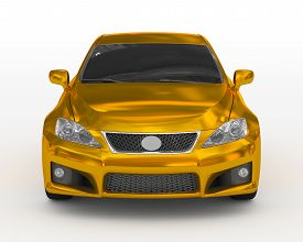Car Isolated On White - Golden, Tinted Glass - Front View - 3d Rendering