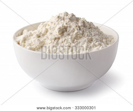 Bowl Of Flour Isolated On White Background