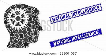 Mosaic Intellect Cog Icon And Rectangle Seal Stamps. Flat Vector Intellect Cog Mosaic Icon Of Scatte