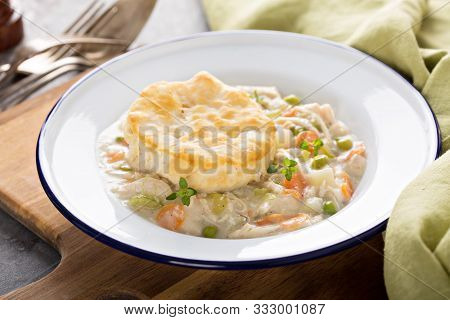 Individual Chicken Pot Pie Plate With A Biscuit On Top
