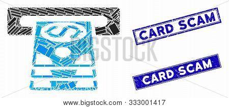Mosaic Bank Cashpoint Pictogram And Rectangular Rubber Prints. Flat Vector Bank Cashpoint Mosaic Pic
