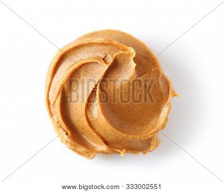Peanut Butter Isolated On White Background, Top View