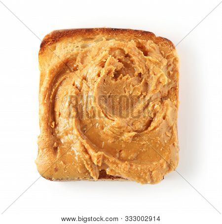 Toasted Bread With Peanut Butter Isolated On White Background, Top View
