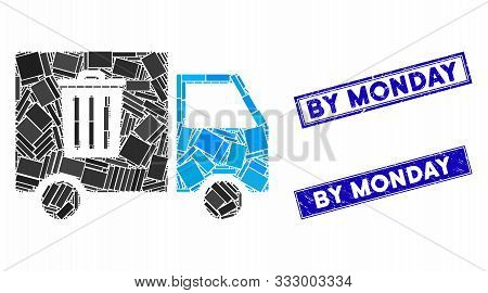 Mosaic Rubbish Transport Van Pictogram And Rectangular Seals. Flat Vector Rubbish Transport Van Mosa