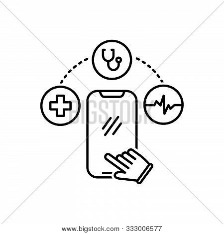 Black Line Icon For  Mhealth Online Cellphone Record Prescription
