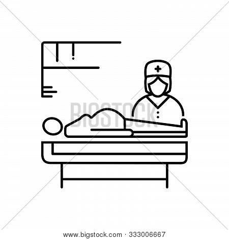 Black Line Icon For  Obstetrics Medicine Treatment Nurse Patient