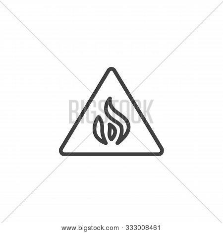 Caution Flammable Line Icon. Linear Style Sign For Mobile Concept And Web Design. Flammable Sign Out