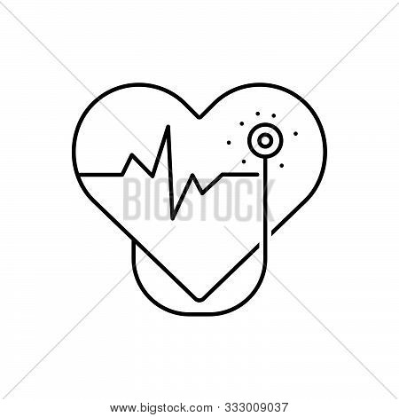 Black Line Icon For Cardiology  Cardio Heart Oncology Cardiology-surgery