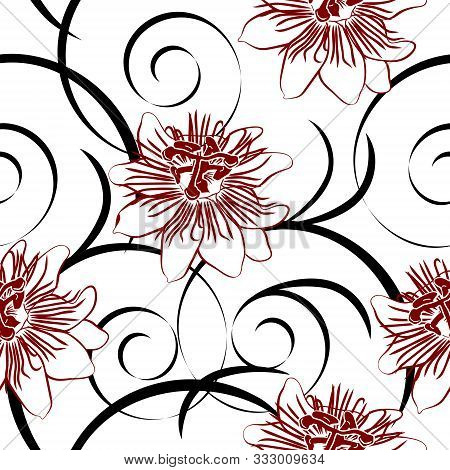 Seamless Pattern With Red Passionflower On A White Background