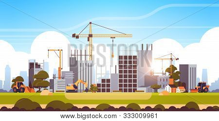 Modern Construction Site With Cranes Tractor And Bulldozer Unfinished Building Exterior Sunset Backg