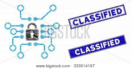 Mosaic Cryptography Icon And Rectangular Seals. Flat Vector Cryptography Mosaic Icon Of Random Rotat