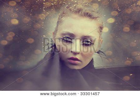 Beautiful Girl With Creative Make-up Mask