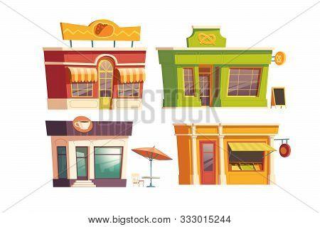 Fast Food Restaurant Building Cartoon Vector Illustration. Facades Of Food Shops And Cafes Or Bistro