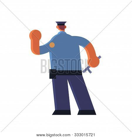 Male Police Officer Holding Hand With Stop Gesture Policeman In Uniform Holding Stick Security Autho