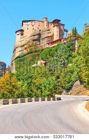 Road to The Monastery of Rousanou on the rock in Meteora, Kalabaka, Greece