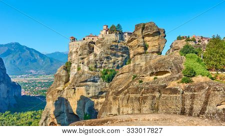 Monasteries of Varlaam and The Great Meteoron on the cliffs in Meteora, Kalambaka, Greece - Greek landscape