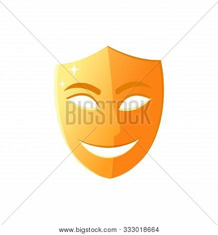 Mask With Smile On Face, Comedy Performance In Theater Isolated Icon, Golden Disguise Worn By Actors