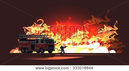 Brave Fireman Near Fire Truck Extinguishing Flame Firefighter Wearing Uniform And Helmet Spraying Wa