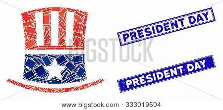 Mosaic Uncle Sam Hat Icon And Rectangle Stamps. Flat Vector Uncle Sam Hat Mosaic Icon Of Randomized