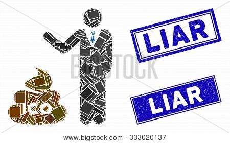 Mosaic Businessman Show Ico Shit Pictogram And Rectangle Watermarks. Flat Vector Businessman Show Ic