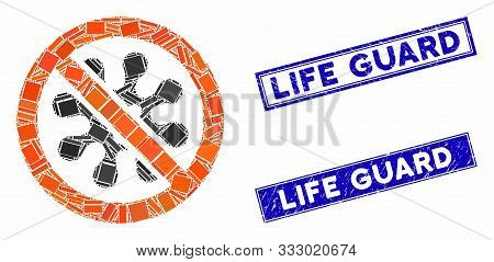 Mosaic Antivirus Icon And Rectangular Seals. Flat Vector Antivirus Mosaic Icon Of Random Rotated Rec