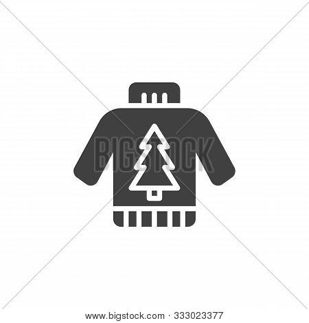 Christmas Sweater Vector Icon. Filled Flat Sign For Mobile Concept And Web Design. Sweater With Xmas