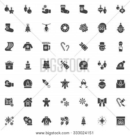 Christmas Decoration Vector Icons Set, Modern Solid Symbol Collection, Filled Style Pictogram Pack.