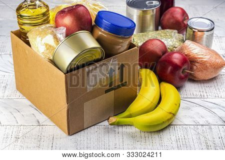 Food Sharing Concept. Fighting With Overconsumption Background. Various Products In A Food Donation