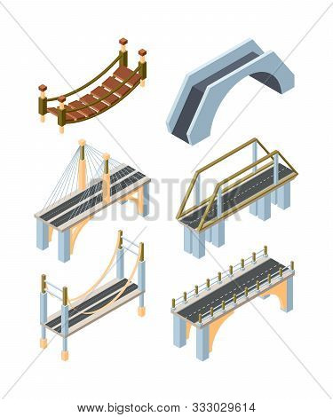 Different Types Of Bridges Isometric 3d Vector Illustrations Set