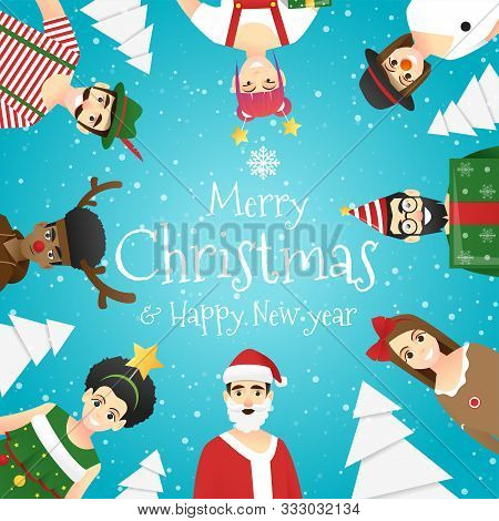 Merry Christmas And Happy New Year, Group Of Teens In Christmas Costume Concept , Vector, Illustrati