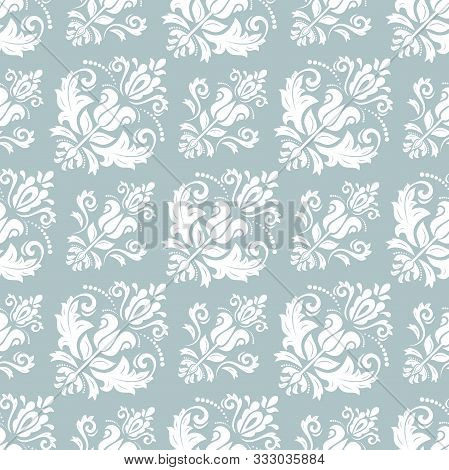 Classic Seamless Vector Light Blue And White Pattern. Damask Orient Ornament. Classic Vintage Backgr