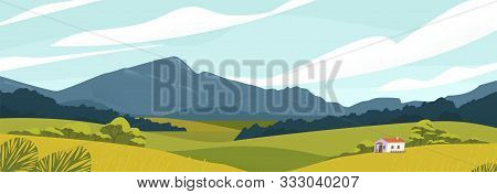 Panoramic Landscape With Meadows And Mountains. House In Rural Area Vector Illustration. Scenic Outd
