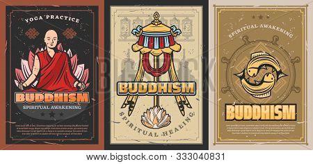Buddhism Religion Posters With Vector Religious Symbols Of Buddhist. Tibetan Monk Prayer Wheels, Bud