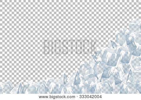 Translucent Ice And Snow Crystal Heap. Vector Illustration. Iced Bricks.