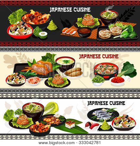 Japanese Cuisine Seafood Sushi, Meat And Fish Dishes, Served With Vegetables And Rice Vector Banners
