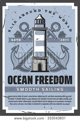 Sea Boat Anchors, Nautical Lighthouse And Ocean Sailing Ships With Marine Ropes Vector Design. Saili
