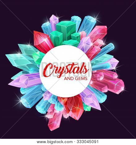 Crystals Of Gemstones And Mineral Rocks Vector Design With Precious Gems Of Diamond, Pink Quartz And