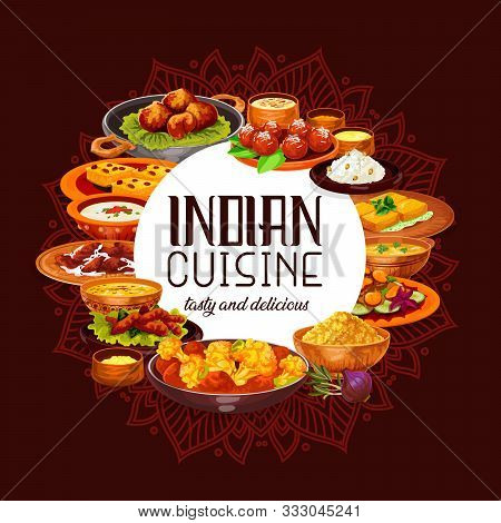 Indian Cuisine Vector Design With Spicy Rice, Seafood And Lentil Soups, Chicken Meat Curry, Vegetabl