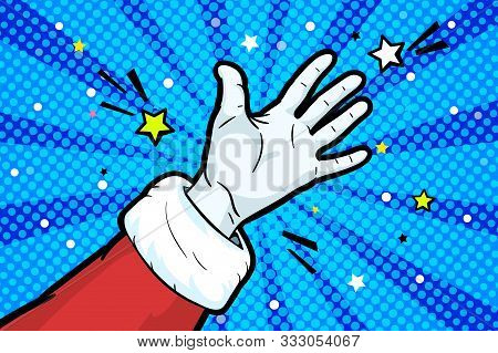 Hand Of Santa Claus In Red Suit And Mitten Showing Gesture Open Palm. Hand Gives Or Receives. Retro