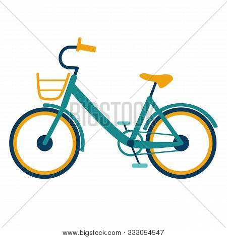 Pedal Bike With A Basket And Low Frame On A White Background Isolated. Side View Of The Silhouette O