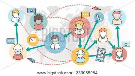 Referral Marketing Outline Concept Vector Illustration. Products Promotion Persons Concept. New Cust