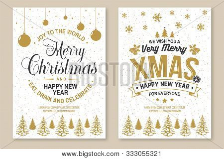 Set Of Merry Christmas And 2020 Happy New Year Poster, Flyer, Greeting Cards. Set Quotes With Holly,