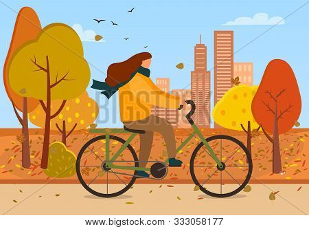 Woman On Bike Vector, Female Character Riding Bicycle In Autumn Park. Cityscape With Skyscrapers And