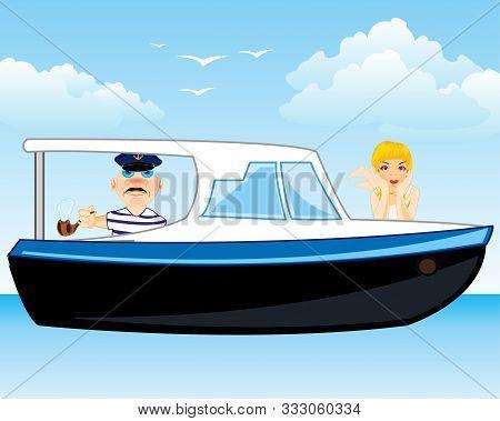 Promenade Sailboat With Reposing On Board In Ocean