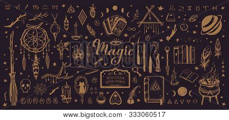 Witchcraft, Magic Background For Witches And Wizards. Wicca And Pagan Tradition. Vector Vintage Coll
