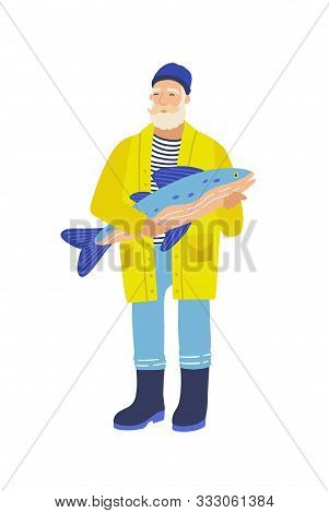 Elderly Fisher Flat Vector Illustration. Gray Bearded Man With Big Fish. Old Fisherman Cartoon Chara